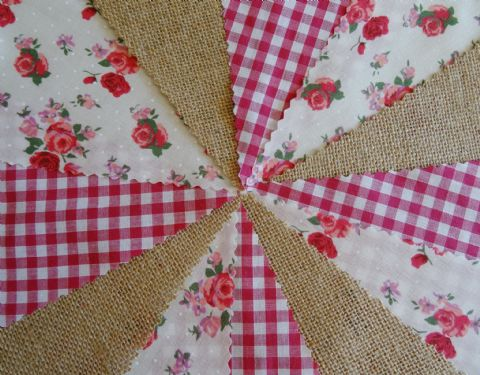 BUNTING - Hessian Burlap - Pink Gingham - Pink & Red Roses - 10m/32ft